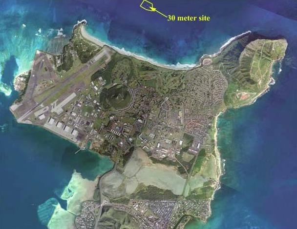 Emplacement de l'usine Azura, Baie de Kaneohe sur l'île d'Oahu à Hawaï (Crédit : Azura Wave)